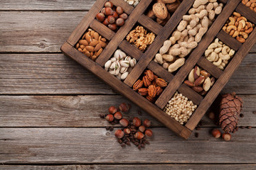Various nuts in wooden box
