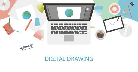 Digital drawing desk.
