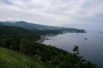 Beautiful rocky coastline around Utoro and Shiretoko National Park, Hokkaido, Japan