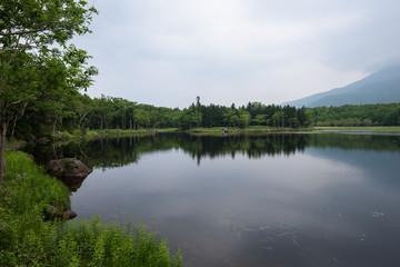 Beautiful quiet landscapes with reflecting waters of the Shiretoko 5-lakes, Shiretoko National Park, Hokkaido, Japan