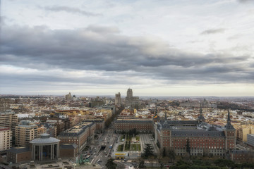Aerial view of Madrid at the sunset, Spain.