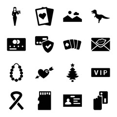 Card icons. set of 16 editable filled card icons