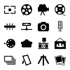 Camera icons. set of 16 editable filled camera icons