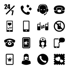 Telephone icons. set of 16 editable filled telephone icons