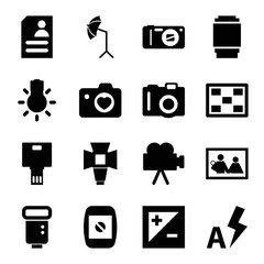 Photo icons. set of 16 editable filled photo icons