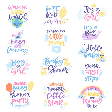 Baby shower sign vector boy or girl newborn kids birth party lettering text with calligraphy letters or textual font for babyshower invitation card illustration for typography isolated on white