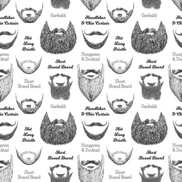 Seamless pattern with beards and mustaches. Hand drawn illustration with fashionable men's styles. Linear Graphics. Kinds and names of hairstyles