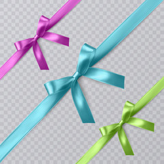 Set of vector realistic pink, blue and green ribbon and bows on transparent background. Vector eps 10