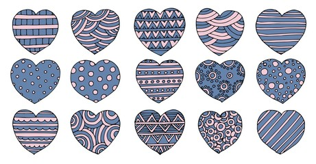vector hearts set for wedding and valentine design in flat and doodle style for your web design.