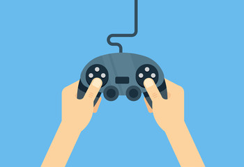 Hands holding gamepad - flat illustration. Leisure gamer vector concept.