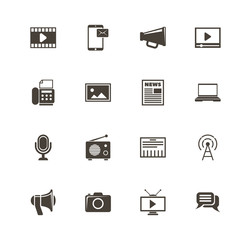 Media icons. Perfect black pictogram on white background. Flat simple vector icon.
