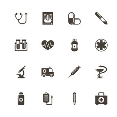 Medical icons. Perfect black pictogram on white background. Flat simple vector icon.