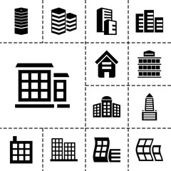 Headquarters icons. set of 13 editable filled headquarters icons