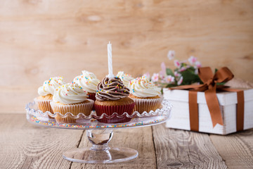 Delicious birthday cupcakes with one candle