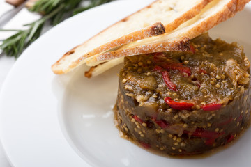 Appetizer of eggplant and red bell pepper