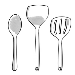 Hand drawn modern spoons