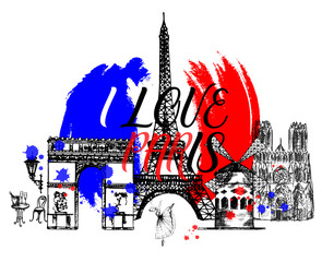 Set of hand drawn sketch style France themed objects. Vector illustration isolated on white background.