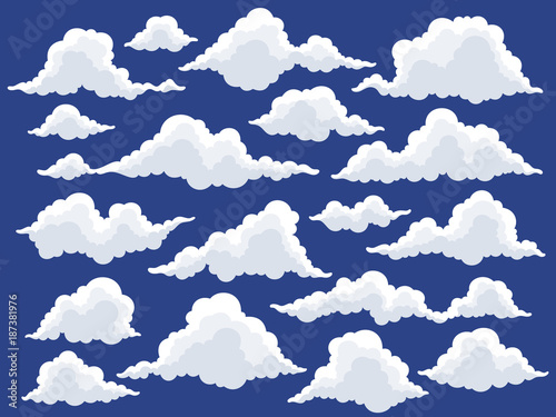 Set of cartoon clouds in blue sky  Fluffy cloud vector illustration