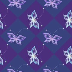 Glowing background with magic  butterflies and sparkling stars.Transparent butterfly. Purple background with butterflies.