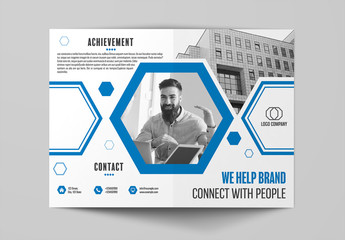 Bifold Brochure Layout with Blue Accents 2