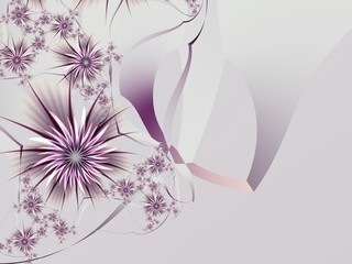 Grafic design for business cards. Fractal image template for inserting text...purple fractal flower, digital artwork for creative graphic design...Floral template with place for text.......