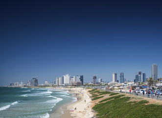 city beach and skyline view of tel aviv israel