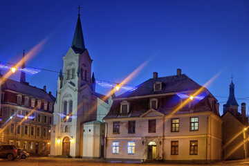 Wall Mural - Old medieval street in historic center of Riga at night.