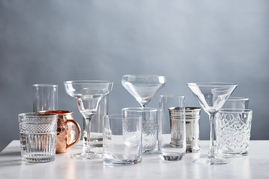 Different types of glasses for cocktails