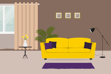 Living room with a yellow sofa and purple pillows. There is a table with yellow tulips on a window background in the image. There is also a room flower and a lamp here. Vector illustration
