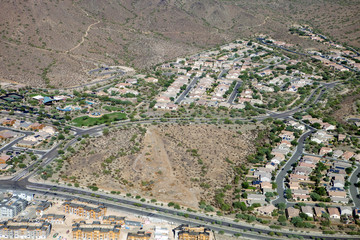 Houses in the desert of Arizona as seen from the air
