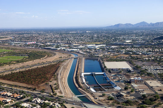 A water treatment plant next to the canal in Arizona