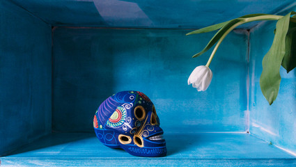 blue mexican skull looking at a tulip