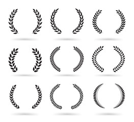 Set of black laurel wreaths isolated on white background. Vector illustration ready and simple to use for your design.