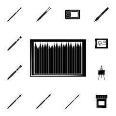 pencil box woodcut icon. Set of elements art tools icons. Winter time premium quality graphic design collection icons for websites, web design, mobile app
