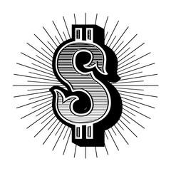 Dollar sign vintage. Vector emblem.