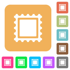 Stamp rounded square flat icons