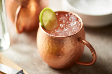 Copper mug of Moscow mule.