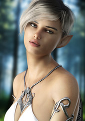 Fantasy elf female with short hair . Posing with a woods background. 3d rendering