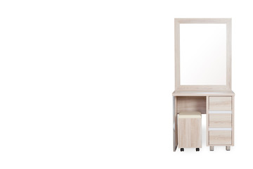 Wood Dressing Table with chair isolated on  white background with space for copy.