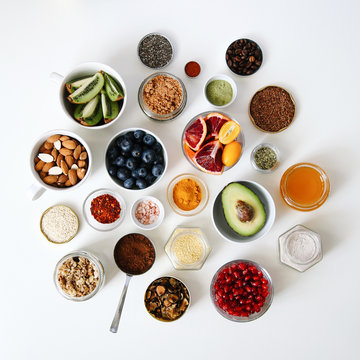 Overhead view of variety of ingredients on table