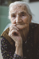 Portrait of an old 90 years woman.