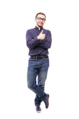 Man in business clothes which posing in studio and showing thumb up on isolated white background