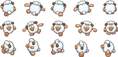 Cartoon sheep ready for animation. Vector clip art illustration with simple gradients. Each on a separate layer.