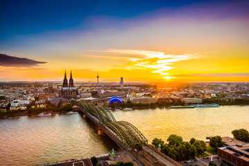 Cologne Cathedral at sunset, skyline of Cologne, Germany