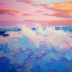 pink morning with sea wave, landscape oil on canvas, illustration