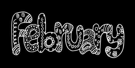 Handdrawn lettering February doodle illustration