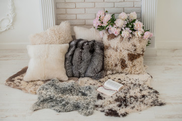 fur cushions in the interior