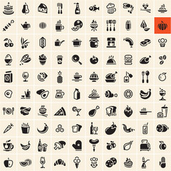 Food icons set. Food and drink icons set.