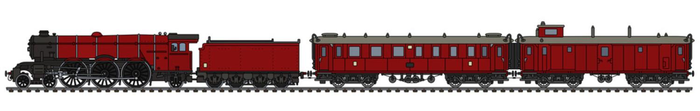 The vintage red passenger steam train