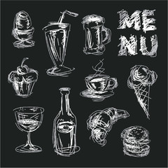 Chalkboard menu for restaurant and bars. Chalk drawings food. Sketch style food icons. Hand drawn food.